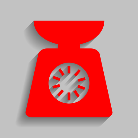 Kitchen scales sign. Red icon with soft shadow on gray background.