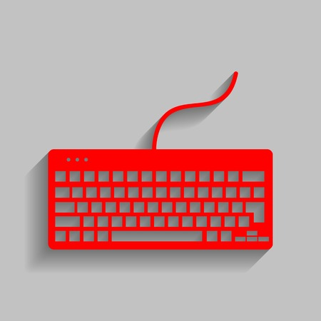 Keyboard simple sign. Vector. Red icon with soft shadow on gray background.