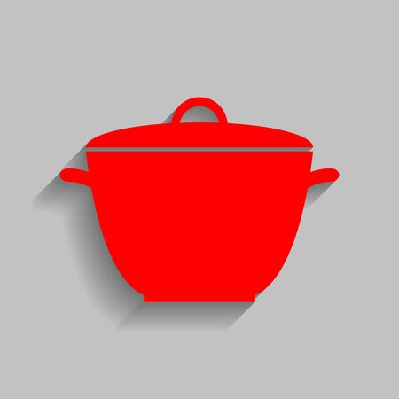 Saucepan simple sign. Vector. Red icon with soft shadow on gray background. Illustration