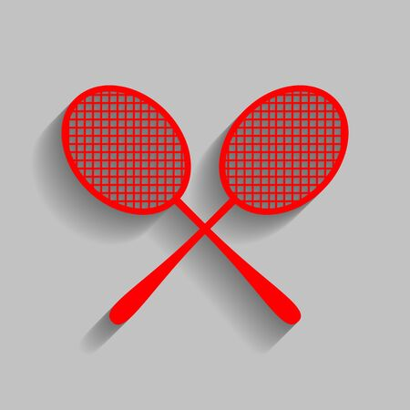 Tennis racquets sign. Vector. Red icon with soft shadow on gray background. Illustration