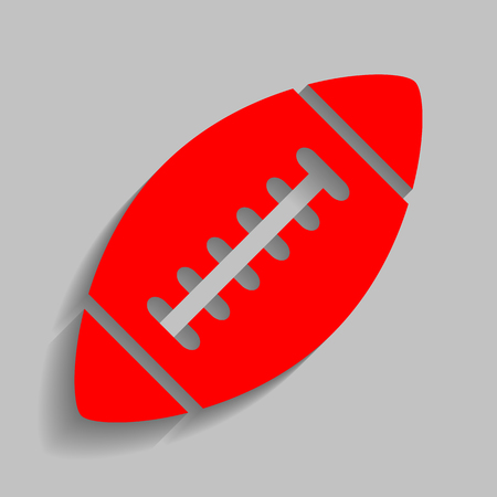 American simple football ball. Vector. Red icon with soft shadow on gray background.