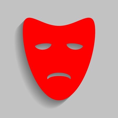 theatrical performance: Tragedy theatrical masks. Red icon with soft shadow on gray background.