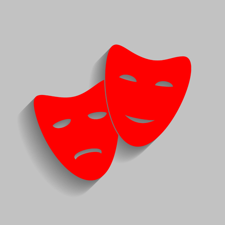 theatrical performance: Theater icon with happy and sad masks. Red icon with soft shadow on gray background. Illustration