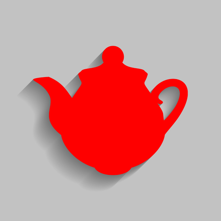 Tea maker Kitchen sign. Red icon with soft shadow on gray background. Illustration