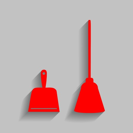 whisk broom: Dustpan sign. Scoop for cleaning garbage housework dustpan equipment. Vector. Red icon with soft shadow on gray background. Illustration