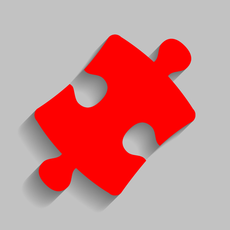 Puzzle piece sign. Red icon with soft shadow on gray background.