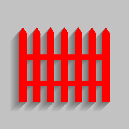 dissociation: Fence simple sign. Red icon with soft shadow on gray background.