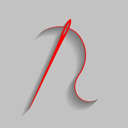 needlecraft: Needle with thread. Sewing needle, needle for sewing. Vector. Red icon with soft shadow on gray background.
