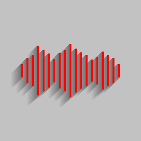Sound waves icon. Vector. Red icon with soft shadow on gray background.