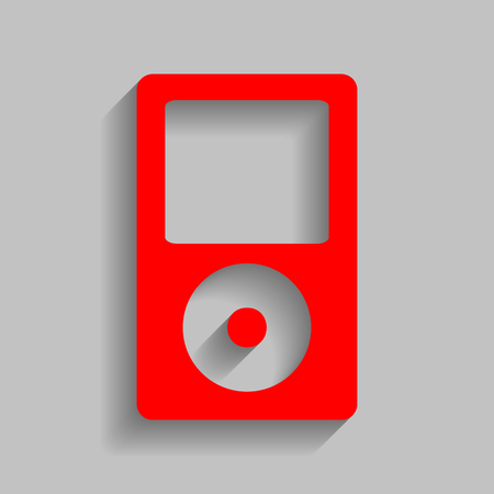 mp: Portable music device. Red icon with soft shadow on gray background.