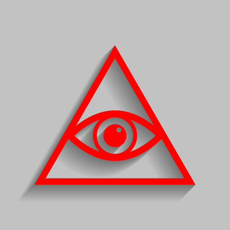 All seeing eye pyramid symbol. Freemason and spiritual. Vector. Red icon with soft shadow on gray background.