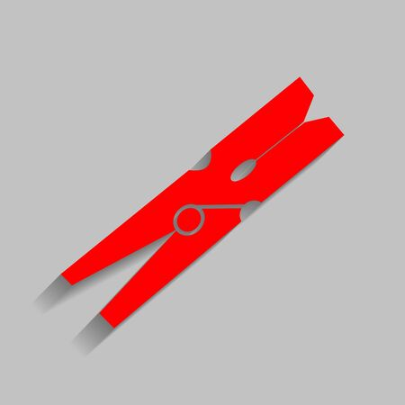 Clothes peg sign. Vector. Red icon with soft shadow on gray background. Illustration