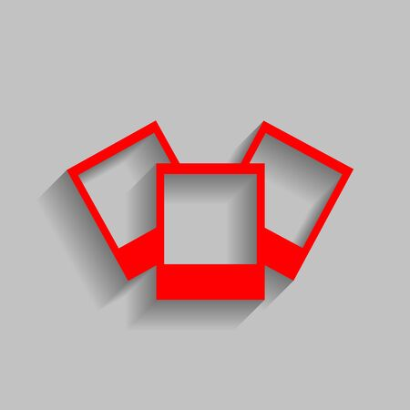Photo sign illustration. Vector. Red icon with soft shadow on gray background. Illustration