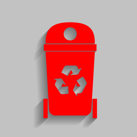 trashing: Trashcan sign illustration. Vector. Red icon with soft shadow on gray background.