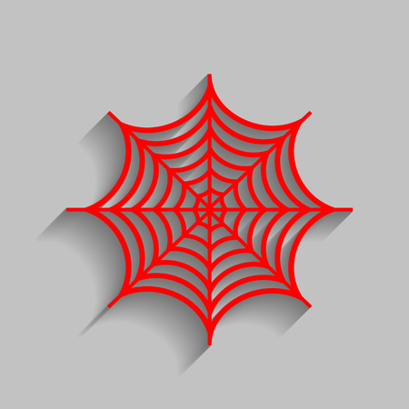 poison symbol: Spider on web illustration. Vector. Red icon with soft shadow on gray background. Illustration