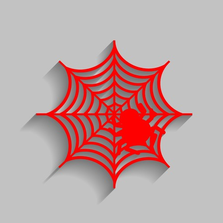 Spider on web illustration Vector. Red icon with soft shadow on gray background. Иллюстрация