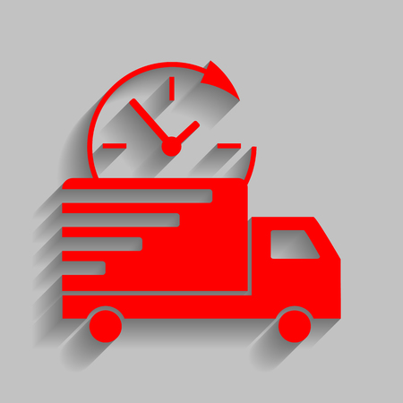semitruck: Delivery sign illustration. Red icon with soft shadow on gray background. Illustration