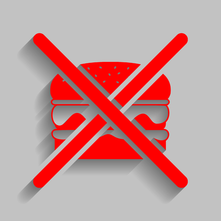 No burger sign. Vector. Red icon with soft shadow on gray background.