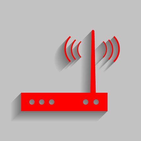 routing: Wifi modem sign. Vector. Red icon with soft shadow on gray background.
