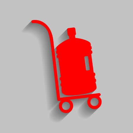 dispenser: Plastic bottle silhouette with water. Big bottle of water on track. Vector. Red icon with soft shadow on gray background.