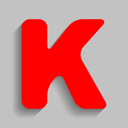 Letter K sign design template element. Red icon with soft shadow on gray background.
