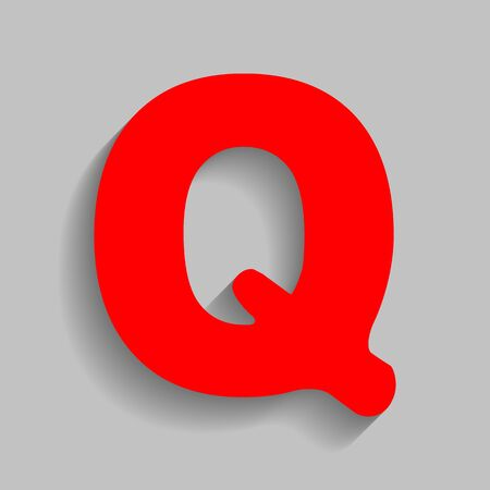 Letter Q sign design template element. Red icon with soft shadow on gray background. Illustration