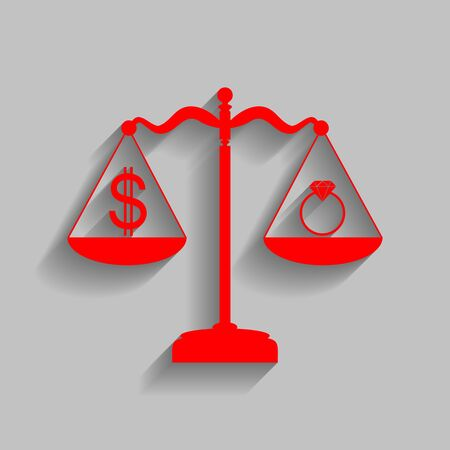 Ring jewelery and dollar symbol on scales. Vector. Red icon with soft shadow on gray background.