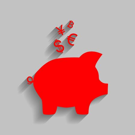art processing: Piggy bank sign with the currencies. Vector. Red icon with soft shadow on gray background.