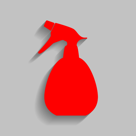 Spray bottle for cleaning sign. Vector. Red icon with soft shadow on gray background.