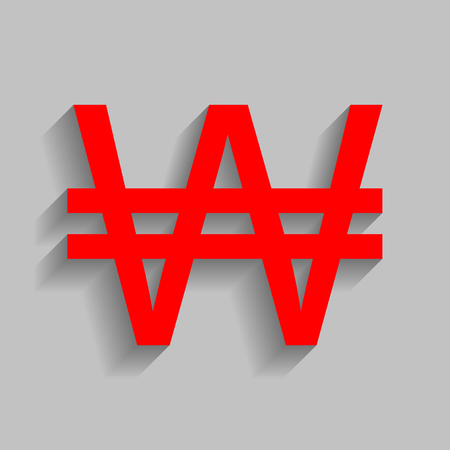 Won sign. Vector. Red icon with soft shadow on gray background.
