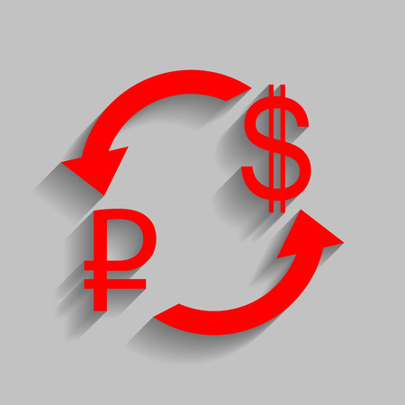 abstract recycle arrows: Currency exchange sign. Rouble and US Dollar Vector. Red icon with soft shadow on gray background. Illustration