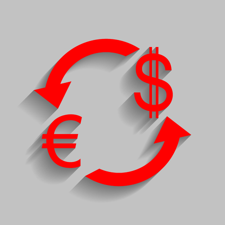 abstract recycle arrows: Currency exchange sign. Euro and US Dollar. Vector. Red icon with soft shadow on gray background.