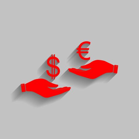 Currency exchange from hand to hand. Dollar adn Euro. Vector. Red icon with soft shadow on gray background.