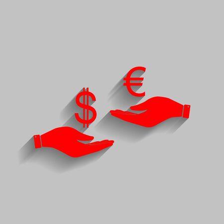 Valutawissel van hand tot hand. Dollar en Euro. Vector. Rood pictogram met zachte schaduw op grijze achtergrond.
