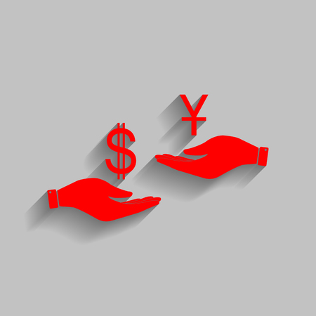 Currency exchange from hand to hand. Dollar and Yuan. Vector. Red icon with soft shadow on gray background.