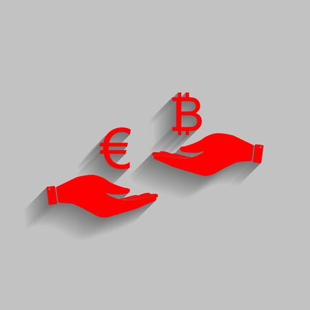 Currency exchange from hand to hand. Euro an Bitcoin. Vector. Red icon with soft shadow on gray background.