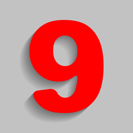 Number 9 sign design template element. Vector. Red icon with soft shadow on gray background.