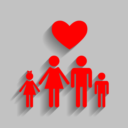 Family symbol with heart. Husband and wife are kept childrens hands. Love. Vector. Red icon with soft shadow on gray background.