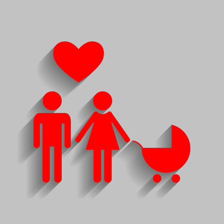 Family symbol with pram and heart. Husband and wife are kept each other`s hands. Love. Vector. Red icon with soft shadow on gray background. Illustration