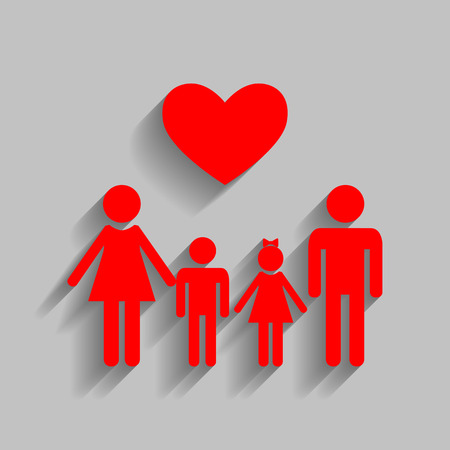 Family symbol with heart. Husband and wife are kept childrens hands. Vector. Red icon with soft shadow on gray background. Illustration