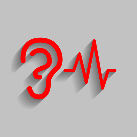 audible: Ear hearing sound sign. Vector. Red icon with soft shadow on gray background.