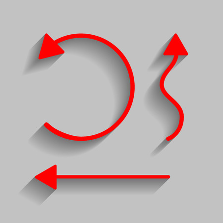 Simple set to Interface Arrows Vector. Red icon with soft shadow on gray background.