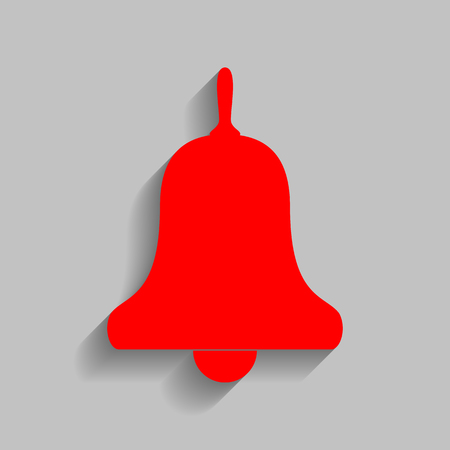 Bell Alarm, handbell sign. Vector. Red icon with soft shadow on gray background.
