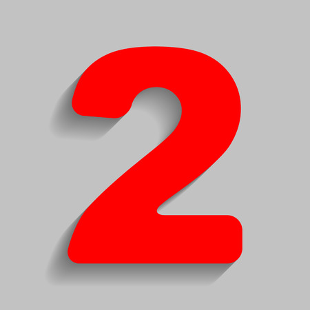 Number 2 sign design template elements. Vector. Red icon with soft shadow on gray background. Illustration