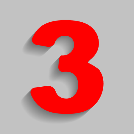 Number 3 sign design template element. Vector. Red icon with soft shadow on gray background. Illustration
