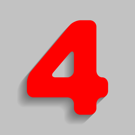 Number 4 sign design template element. Vector. Red icon with soft shadow on gray background. Illustration