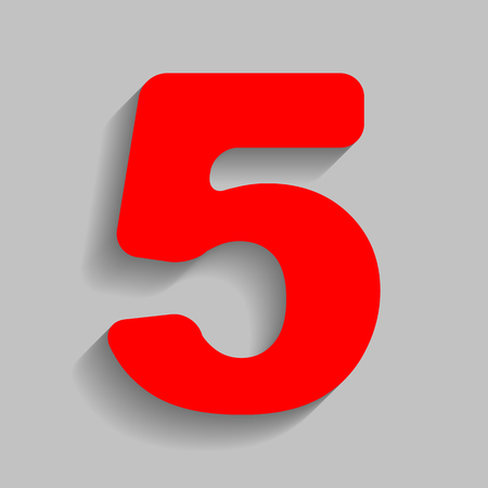 Number 5 sign design template element. Vector. Red icon with soft shadow on gray background.