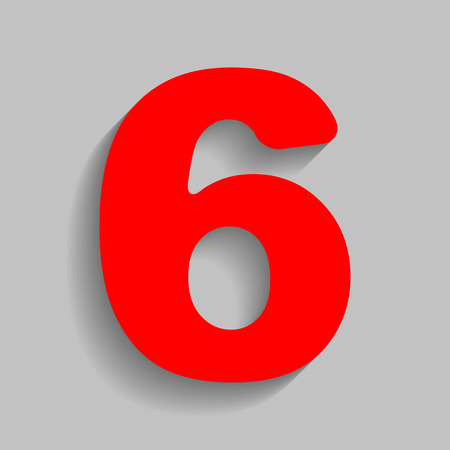 Number 6 sign design template element. Vector. Red icon with soft shadow on gray background.