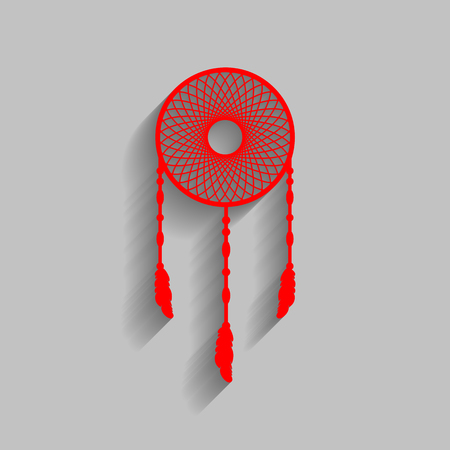 swelled: Dream catcher sign. Vector. Red icon with soft shadow on gray background. Stock Photo