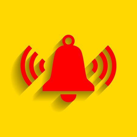 Ringing bell icon. Vector. Red icon with soft shadow on golden background.